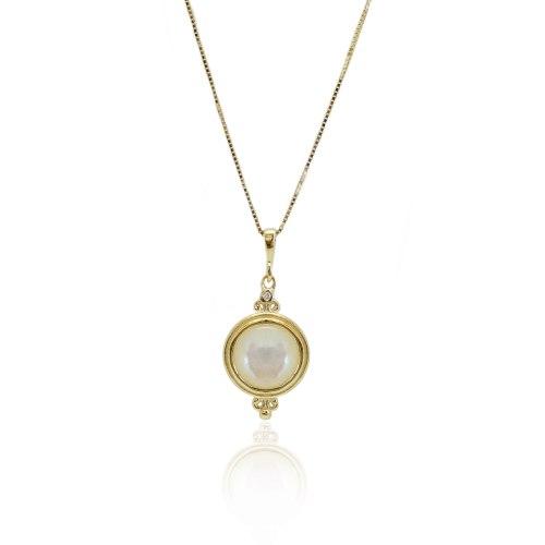 שרשרת זהב עם תליון צדף ויהלום