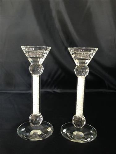 זוג פמוטי קריסטל דגם רסיסי זכוכית