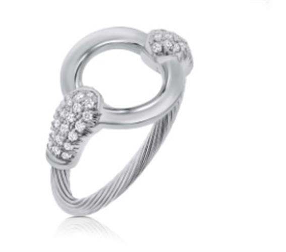 טבעת כבל זהב לבן