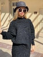 חליפת סריג חצאית  דגם קייט שחור