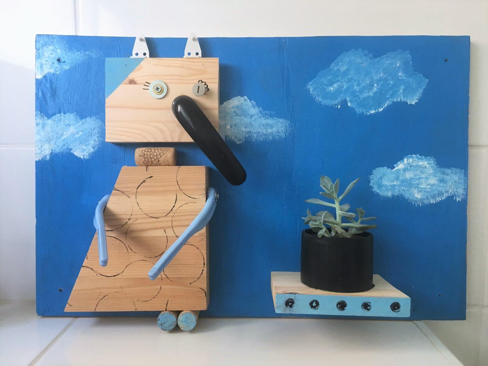 עיצוב בעץ - שלט (הורה וילד) - חנוכה