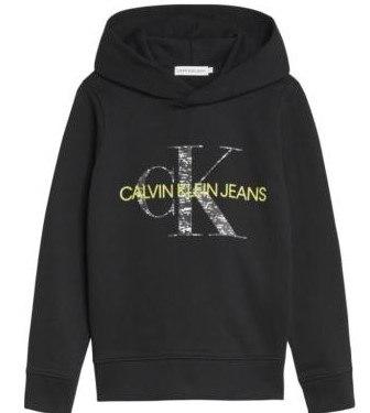 קפוצ'ון שחור לוגו צהוב CALVIN KLEIN - מידות 4-16
