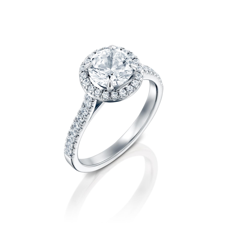 טבעת אירוסין זהב לבן 14 קראט משובצת יהלומים MAYA HALOW