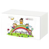 טפט דביק מותאם לספסל אחסון לצעצועים (STUVA)- ילדים על קשת בענן