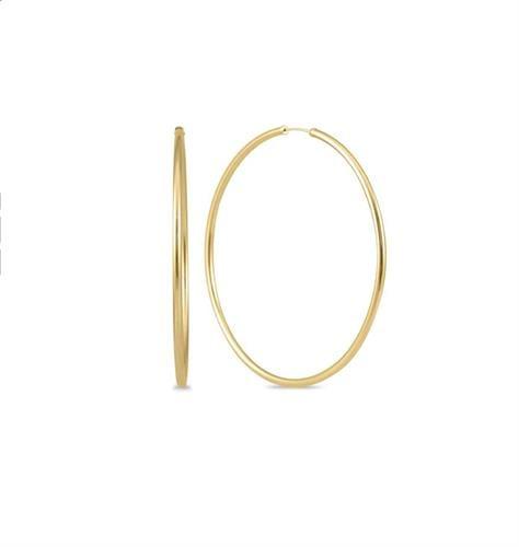 """עגילי חישוק גדולים 4.9 ס""""מ זהב"""
