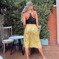 חצאית נילון יפני - YELLOW