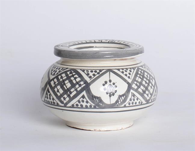 מאפרה מצויירת- אפור לבן