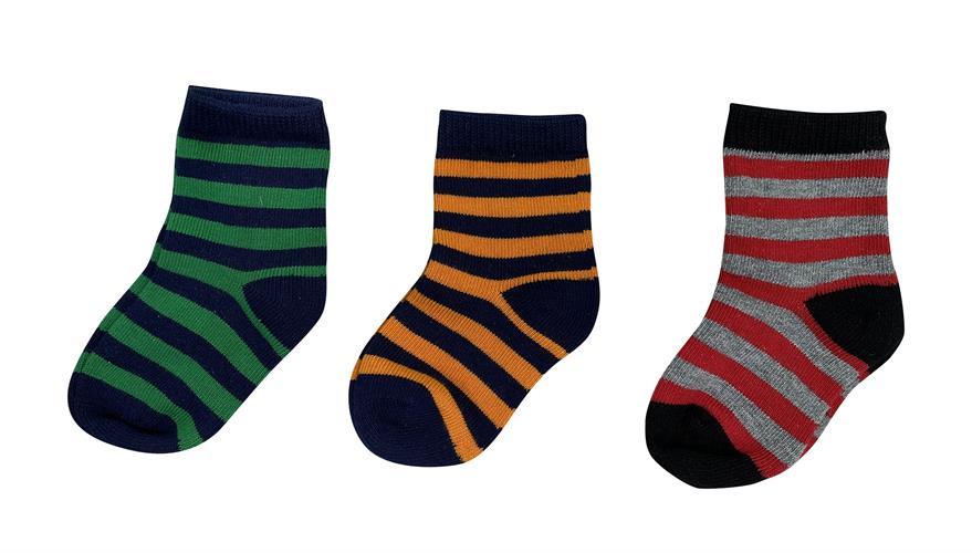 סט שלישיית גרביים פסים אדום-כתום-ירוק