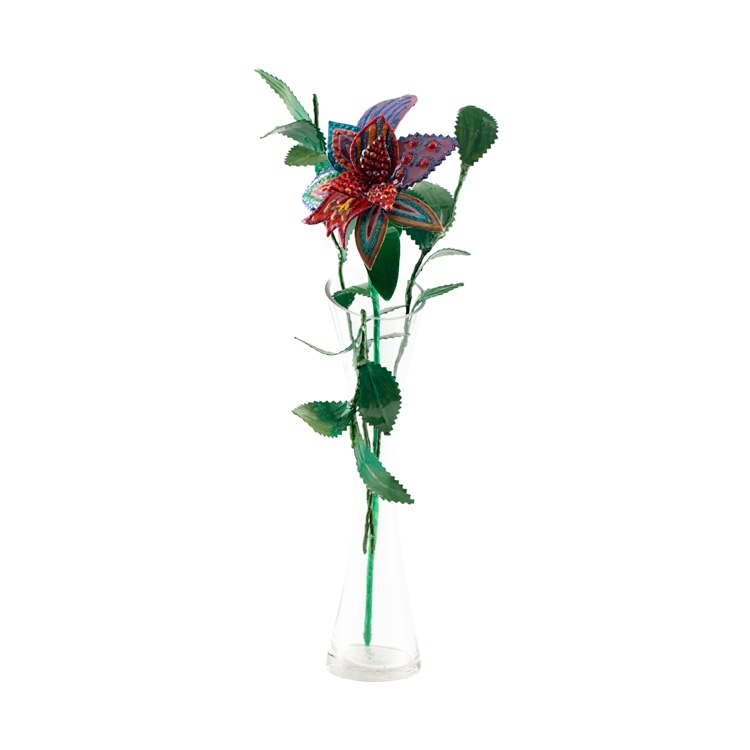 פרח סגול ואדום באגרטל