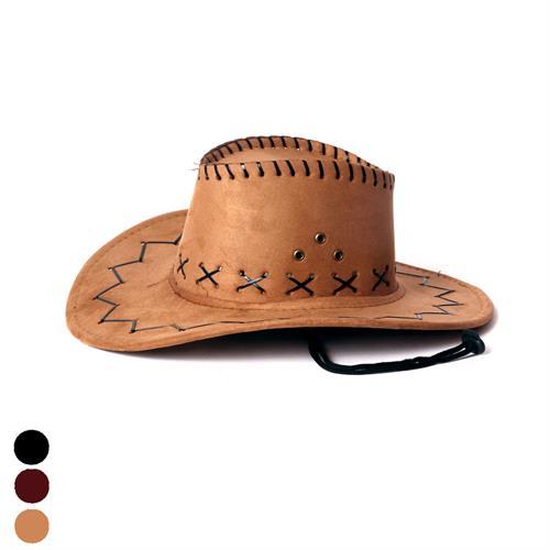 כובע קאובוי זמש תפרים