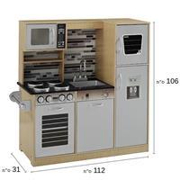 מטבח עץ לילדים לבן ועץ דגם גבריאל W10C458B