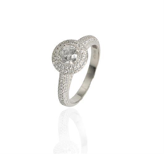 טבעת אירוסין בזהב 14 קרט משובצת יהלומים 1.24 קראט + תעודה גמולוגית