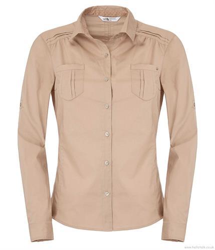 חולצת נשים אופנתית נורט פייס מדגם The North Face Women plaid shirt dune beige