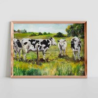 תמונות על קנבס פרות באחו