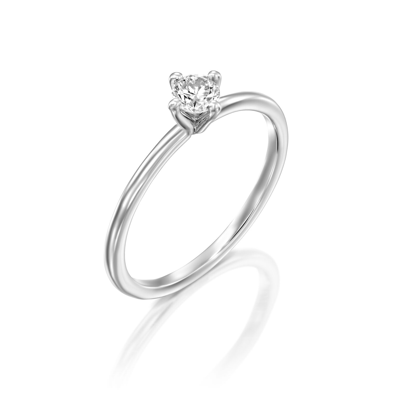 טבעת אירוסין זהב לבן 14 קראט משובצת יהלום מרכזי