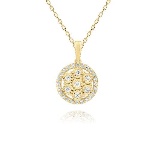 שרשרת ותליון זהב 14 קראט 0.28 קראט יהלומים 815443 - מחיר מבצע!