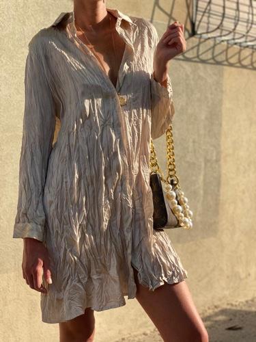שמלת סאטן מקומטת שמפניה