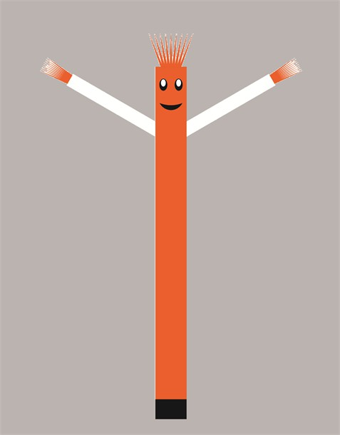 בובת דנסר רוקדת בגובה 6 מטר - צבע כתום ידיים לבנות