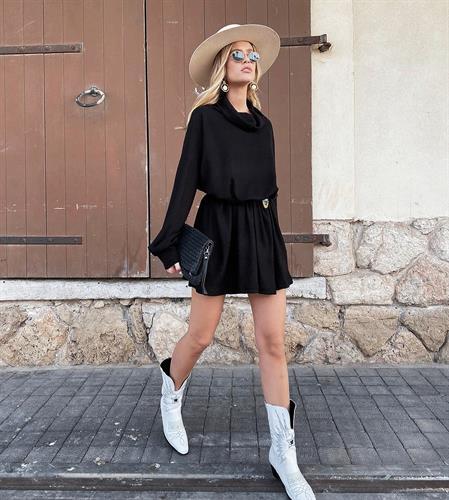 שמלת גולף סריג - שחורה