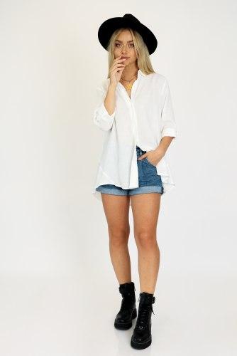 חולצת פאולינה לבן/תכלת