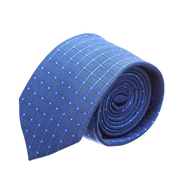 עניבה קלאסית ריבועים כחול בוהק