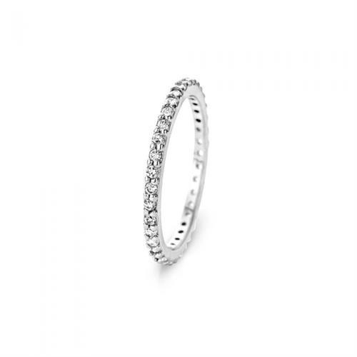 טבעת כסף טהור סטרלינג 925 שיבוץ טניס וציפוי רודיום
