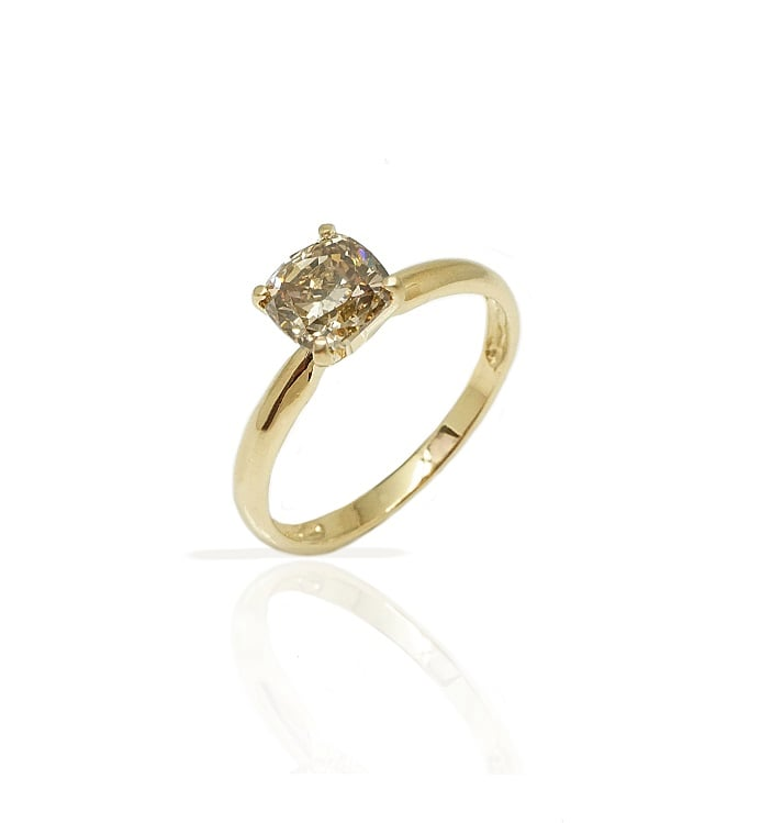 טבעת אירוסין |טבעת זהב יהלום בצבע שמפיין
