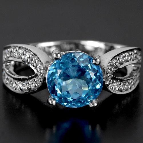 טבעת כסף משובצת טופז כחול וזרקונים RG5502 | תכשיטי כסף 925 | טבעת כסף