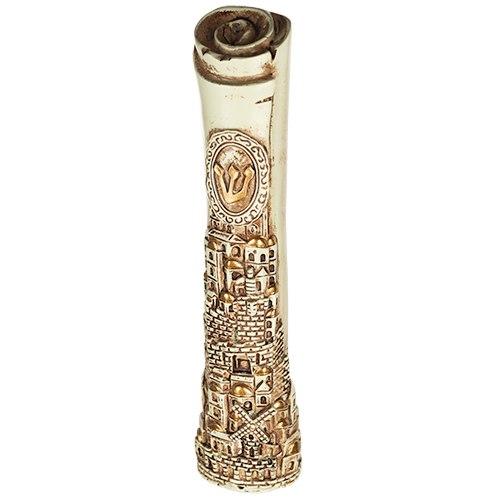 """Beige & Brown Polyresin Mezuzah 20 Cm- Parchment Shape """"jerusalem"""" Design With Silicon Cork"""