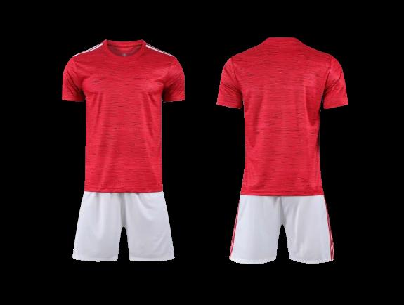 תלבושת כדורגל צבע אדום דומה למנצסטר יונייטד (לוגו+ספונסר שלכם)