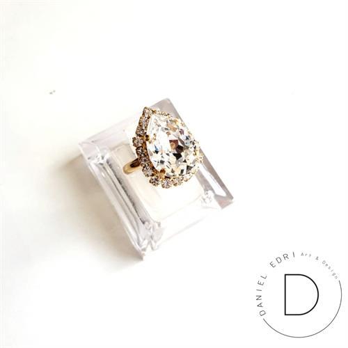 טבעת טיפה מיני- קריסטל זהב