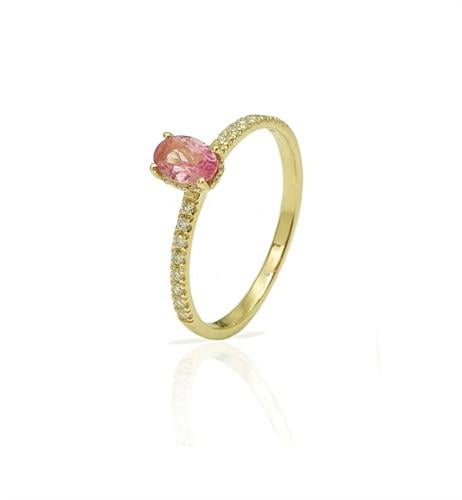 טבעת אירוסין זהב עם אבן חן טורמלין| טבעת יהלומים ואבן חן