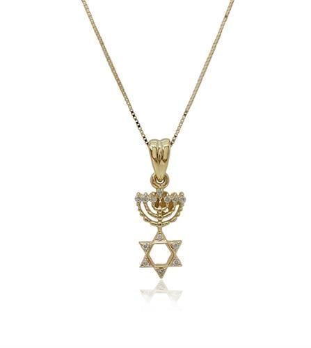שרשרת ותליון זהב 14 קרט מגן דוד וחנוכייה משובץ יהלומים 0.10 קראט