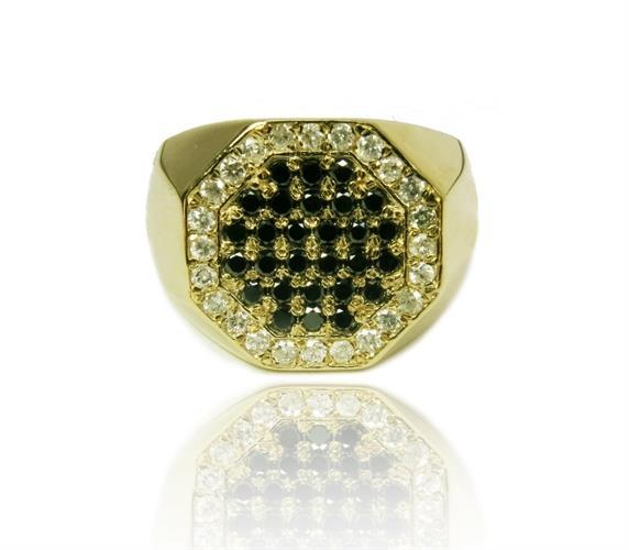טבעת זהב 14 קרט לגבר משובצת יהלומים שחורים ולבנים 0.85 קראט