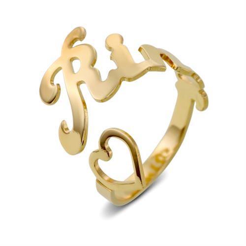 טבעת פתוחה שם עם לב חלול כסף 925/גולדפילד