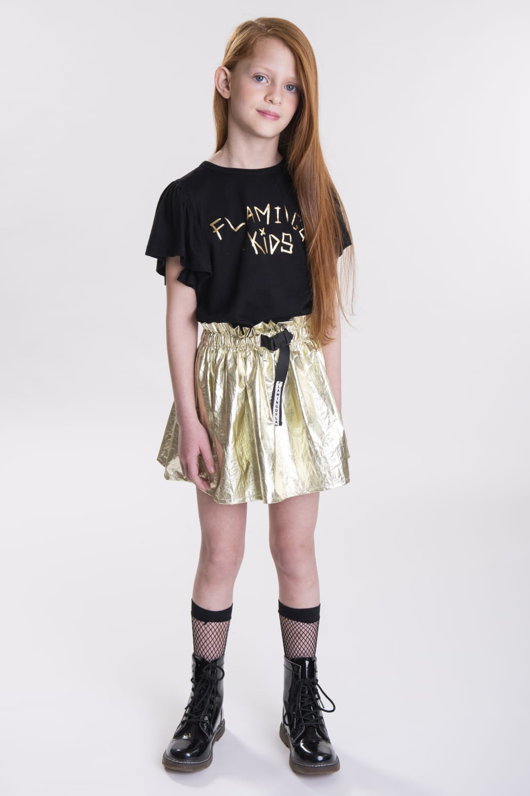 חצאית ניילון זהב FLAMINGO