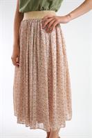 חצאית שיפון פרחונית לבנה