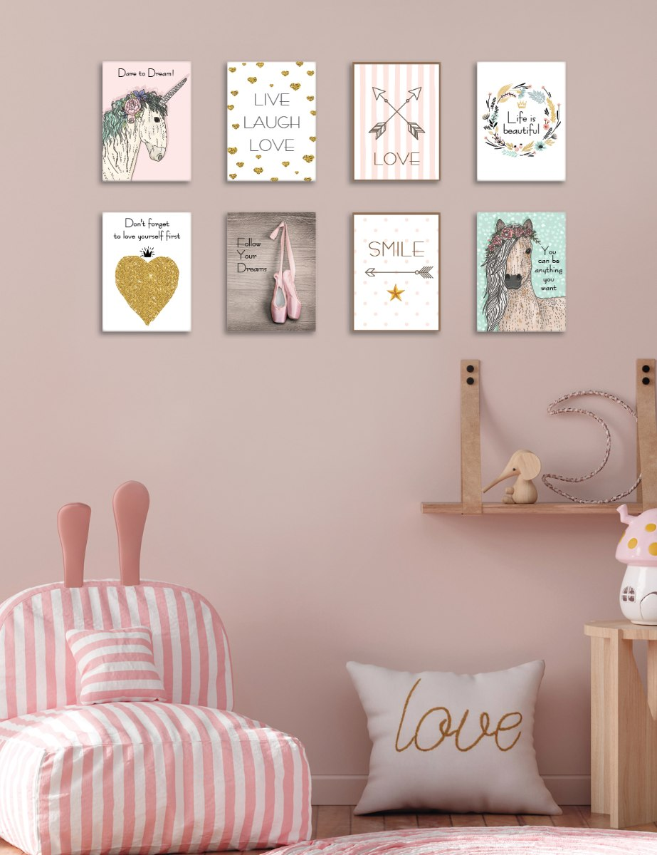 שמיניית תמונות השראה לחדר ילדה או נערה דגם 812
