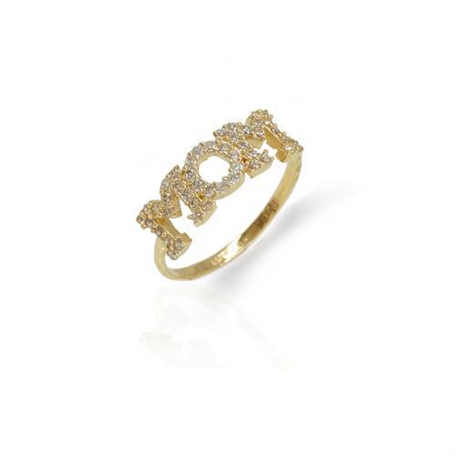 טבעת אמא | טבעת MOM | מזהב עם זרקונים