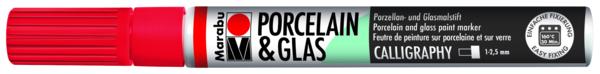 טוש לפורצלן וזכוכית 1- 2.5 ממ - אדום 125 MARABU CALLIGRAPHY