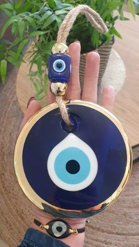 עין זכוכית כחול/זהב לתליה