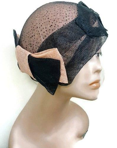 כובע מעוצב אלגנטי/ שחור אפרסק