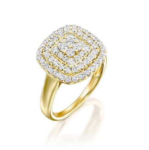 טבעת מונרו משובצת יהלומים 1 קראט בזהב צהוב או לבן
