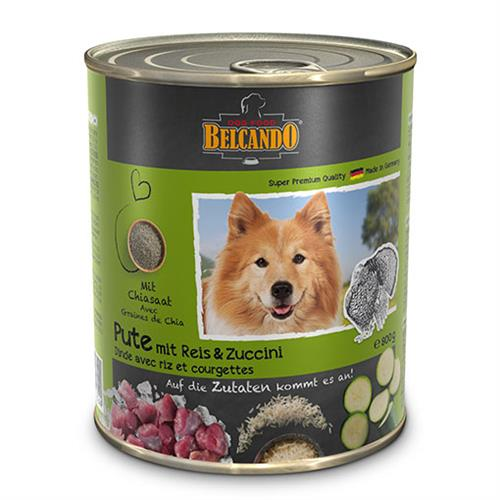 שימורי מזון כלבים בלקנדו – הודו אורז+קישוא 800 גר'