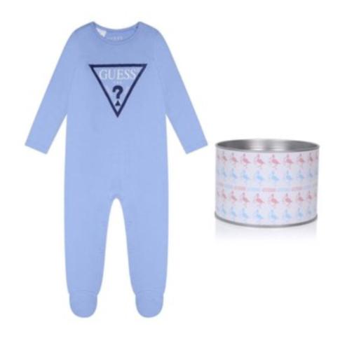 אוברול תינוקות תכלת לוגו גדול GUESS בנים  - 0-6 חודשים
