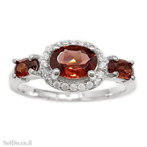טבעת מכסף משובצת אבן גרנט ואבני זרקון  RG1634 | תכשיטי כסף 925 | טבעות כסף