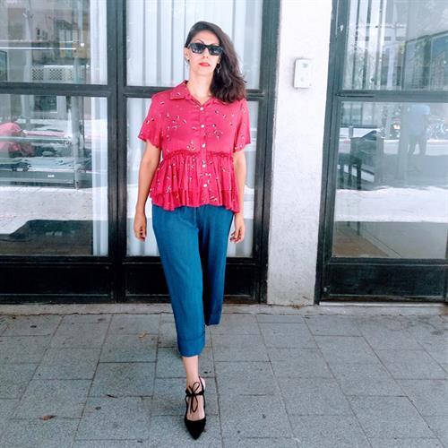 חולצת סאני בורדו מודפס פוייל