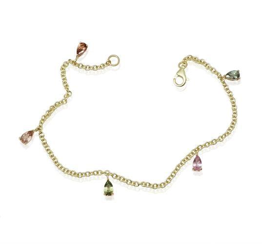 צמיד זהב צ'ארמס עם אבני טורמלין טיפה בצבעים שונים