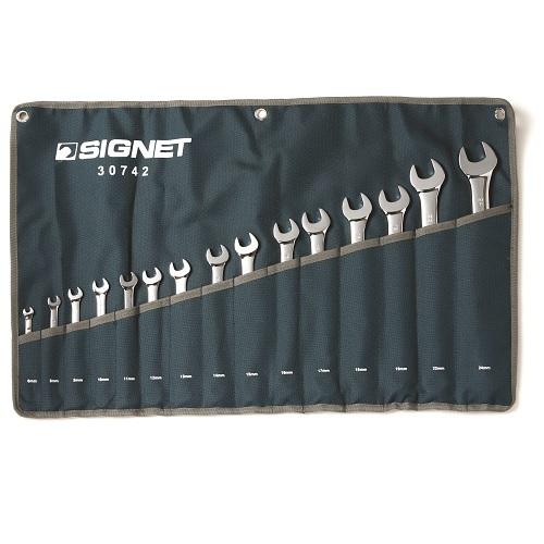 """סט מפתחות רינג פתוח 6-24 מ""""מ 15 יח' SIGNET"""