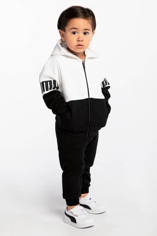 חליפת פוטר רוכסן קפוצון שחור לבן (3m-4y)